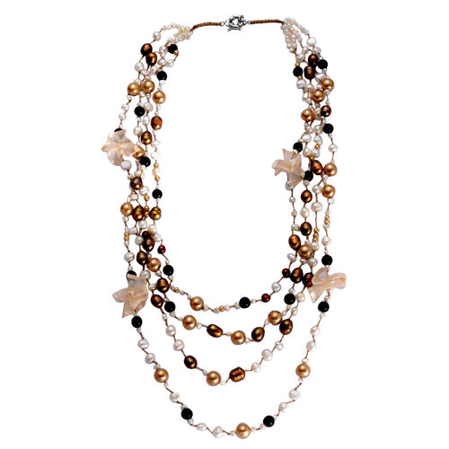 Fresh Water Dyed Multi Colour Pearl, Golden and Black Glass Pearl Necklace (Size 26) in Silver Tone
