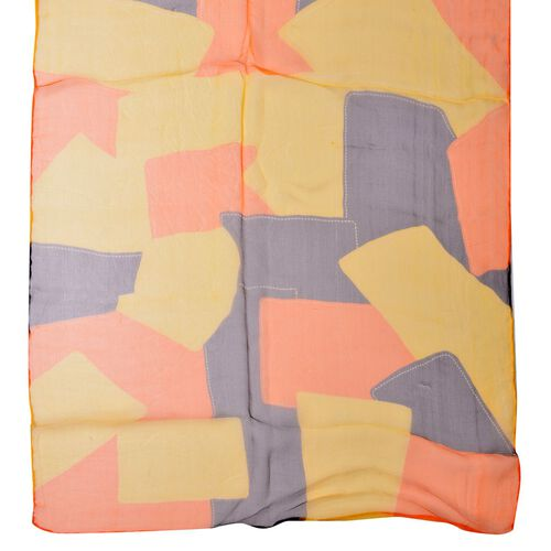 100% Mulberry Silk Orange, Yellow, Black and Multi Colour Block Pattern Scarf (Size 170x50 Cm)