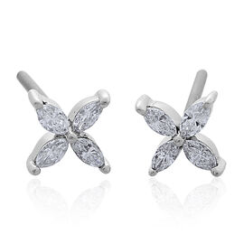RHAPSODY 950 Platinum SGL Certified Diamond (Mrq) (VS/E-F) Stud Earrings (with Screw Back) 0.250 Ct.