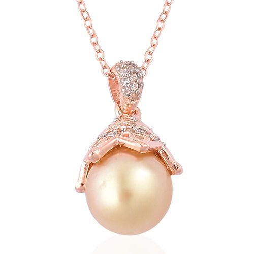 Very Rare South Sea Golden Pearl (Rnd 10-10.5mm), White Zircon Pendant With Chain in Rose Gold Overlay Sterling Silver