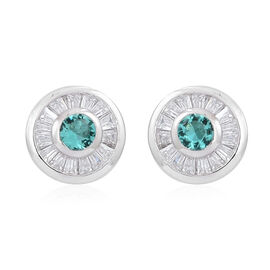 ELANZA AAA Simulated Paraiba Tourmaline (Rnd), Simulated White Diamond Stud Earrings (with Push Back) in Rhodium Plated Sterling Silver