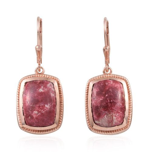Norwegian Thulite (Cush) Earrings in Rose Gold Overlay Sterling Silver 14.250 Ct.