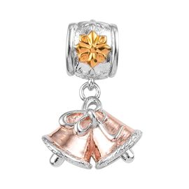 Christmas Bell 3 Tone Silver Charm in Yellow Gold, Rose Gold and Platinum Overlay 4.35 Gms.