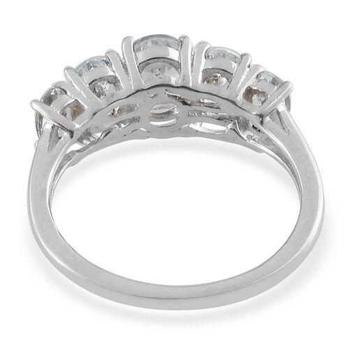 Espirito Santo Aquamarine (Ovl 0.50 Ct) 5 Stone Ring in Platinum Overlay Sterling Silver 1.750 Ct.