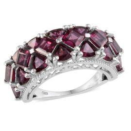 Orissa Rhodolite Garnet (Sqr) Ring in Platinum Overlay Sterling Silver 7.000 Ct.