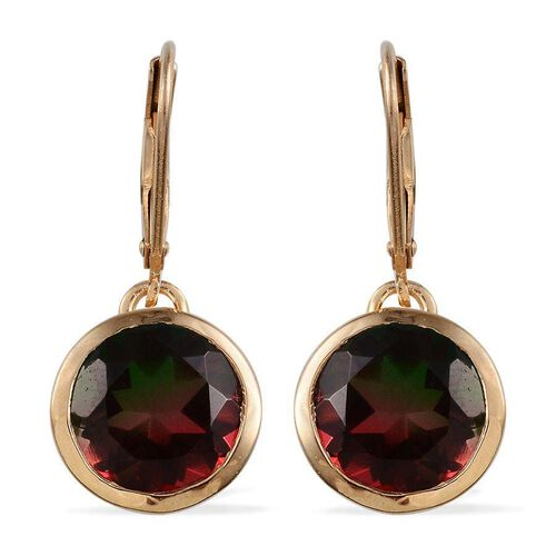 Tourmaline Colour Quartz (Rnd) Lever Back Earrings in 14K Gold Overlay Sterling Silver 7.000 Ct.
