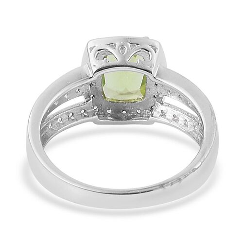 Hebei Peridot (Cush 2.00 Ct), White Zircon Ring in Platinum Overlay Sterling Silver 2.500 Ct.