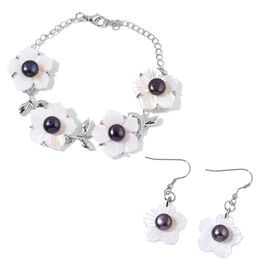 Fresh Water Peacock Pearl and White Shell Floral Bracelet (Size 6.5 with 2 inch Extender) and Hook Earrings in Silver Tone with Stainless Steel
