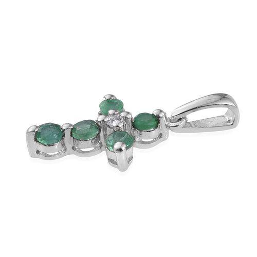 Kagem Zambian Emerald (Rnd), White Topaz Cross Pendant in Platinum Overlay Sterling Silver
