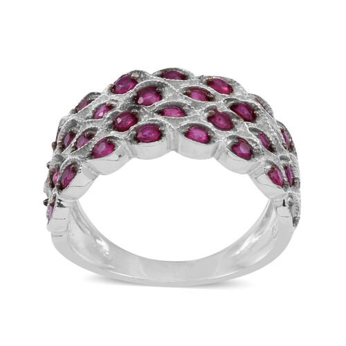 Burmese Ruby (Rnd) Ring in Rhodium Plated Sterling Silver 2.000 Ct.