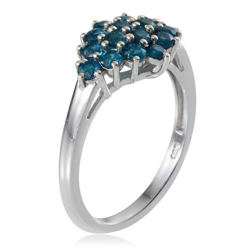 Malgache Neon Apatite (Rnd) Cluster Ring in Platinum Overlay Sterling Silver 1.250 Ct.