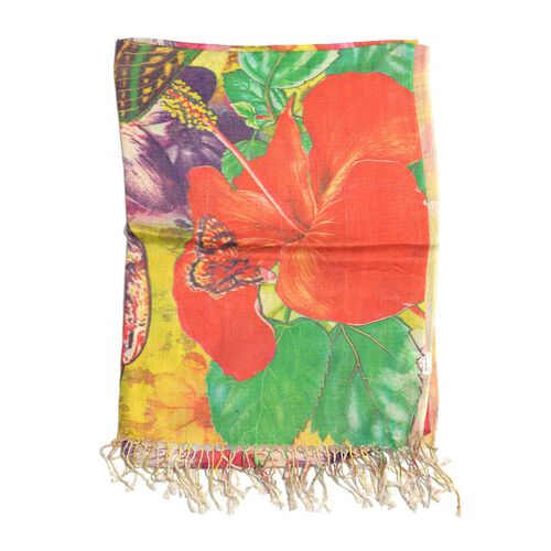 Butterfly and Floral Pattern Green Colour Scarf (Size 180x70 Cm)