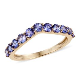 9K Yellow Gold 1 Carat AA Tanzanite Wishbone Ring