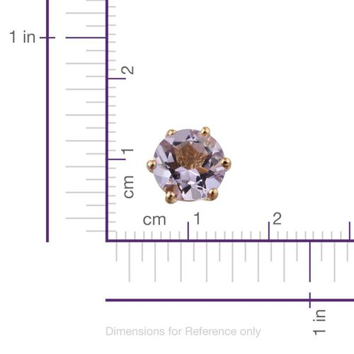 Rose De France Amethyst (Rnd) Stud Earrings (with Push Back) in 14K Gold Overlay Sterling Silver 2.250 Ct.