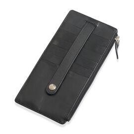 Genuine Leather RFID Blocker Black Colour Ladies Wallet (Size 17x9 Cm)