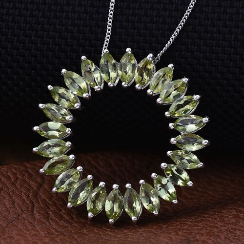 AA Hebei Peridot (Mrq) Pendant With Chain in Platinum Overlay Sterling Silver 4.500 Ct.