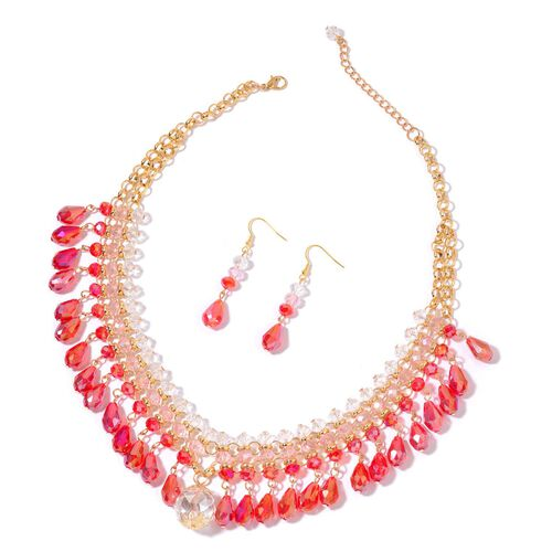 Simulated Ruby and Simulated Multi Gemstone Necklace (Size 20 with 2 inch Extender) and Hook Earrings in Yellow Gold Tone