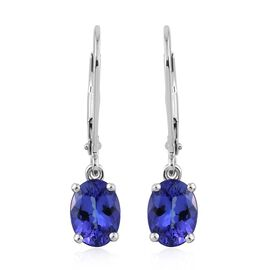 ILIANA 18K White Gold 2.15 Carat AAA Tanzanite Oval Solitaire Lever Back Earrings.