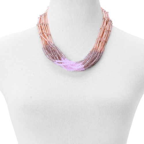Pink Glass, Grey Glass and White Glass Necklace (Size 20) in Silver Tone