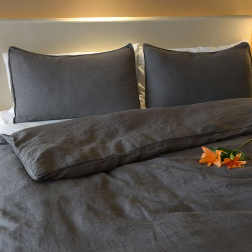100% Linen Stone Washed Charcoal Colour Double Size Duvet Cover (Size 200x200 Cm) and Two Pillow Cases (Size 75x50 Cm), Oeko-Tex Certified