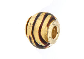 Close Out Deal 9K Y Gold Black and Golden Colour Murano Glass Bead Charm