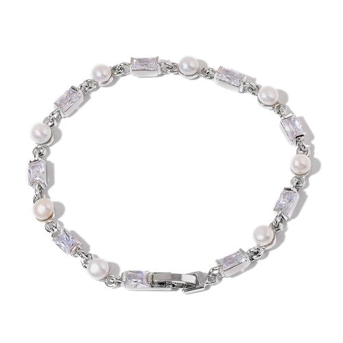 Fresh Water White Pearl and Simulated White Diamond Bracelet (Size 7.5) in Silver Tone