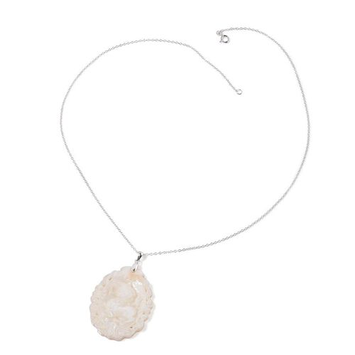 White Shell ZODIAC Leo Pendant With Chain in Sterling Silver