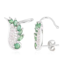 Brazilian Emerald (Rnd), White Zircon Angel Wings Earrings (with Push Back) in Platinum Overlay Sterling Silver 1.250 Ct.
