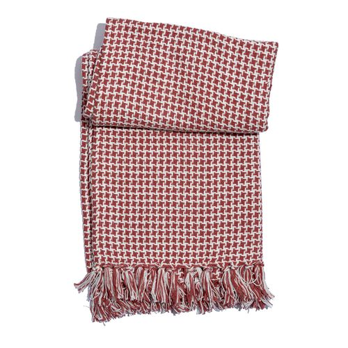 100% Cotton Houndstooth Pattern Red and White Colour Throw with Fringes (Size 150x125 Cm)