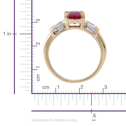 9K Y Gold Burmese Ruby (Ovl 2.40 Ct), Natural Cambodian White Zircon Ring 3.000 Ct.