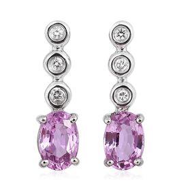 RHAPSODY 950 Platinum 1.10 Carat AAAA Pink Sapphire Earrings With Diamond VS E-F