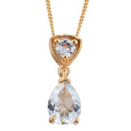 Espirito Santo Aquamarine (Pear) Pendant with Chain in 14K Gold Overlay Sterling Silver 1.000 Ct.