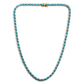 Arizona Sleeping Beauty Turquoise (Ovl) Necklace (Size 18) in 14K Gold Overlay Sterling Silver 35.000 Ct.