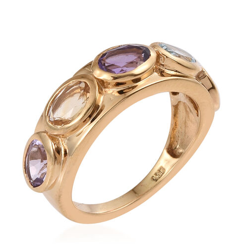 Amethyst (Ovl), Sky Blue Topaz, Rhodolite Garnet, Rose De France Amethyst and Citrine Ring in 14K Gold Overlay Sterling Silver 2.250 Ct.