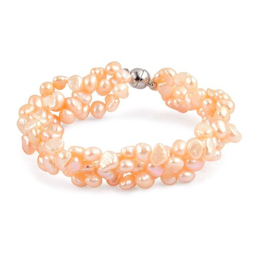 Fresh Water Peach Pearl (5-6mm) Bracelet (Size 8.5) in Silver Tone with Magnetic Clasp