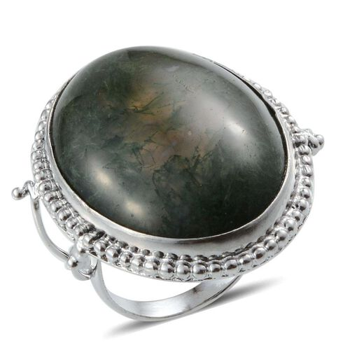 Jewels of India Moss Agate (Ovl) Solitaire Ring in Platinum Bond 39.980 Ct.