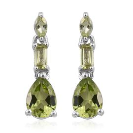 AA Hebei Peridot (Pear) Earrings (with Push Back) in Platinum Overlay Sterling Silver 1.750 Ct.