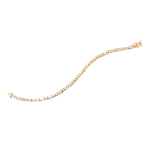 Close Out Deal AAA Simulated Diamond (Rnd) Tennis Bracelet (Size 7.25) in Yellow Gold Bond