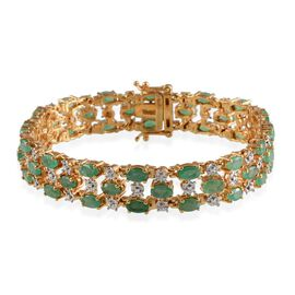 Kagem Zambian Emerald (Ovl), Diamond Bracelet in 14K Gold Overlay Sterling Silver (Size 7) 10.510 Ct.