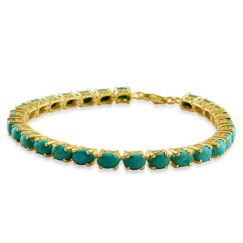 Turquoise 14K Gold Overlay Sterling Silver Tennis Bracelet (Size 7.5)  12.500  Ct.