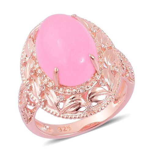 Pink Jade (Ovl 7.00 Ct), White Topaz Ring in Rose Gold Overlay Sterling Silver 7.100 Ct.