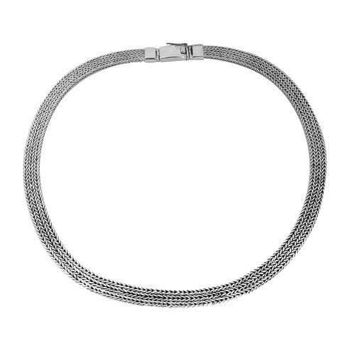 Royal Bali Collection Sterling Silver Hand Made Tulang Naga Necklace (Size 18 Inch), Silver wt 66.40 Gms.