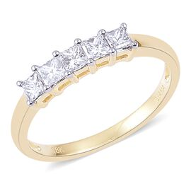 ILIANA 18K Yellow Gold IGI Certified 0.50 Carat Princess Cut Diamond 5 Stone Ring SI G-H