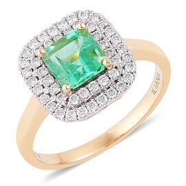 ILIANA 18K Yellow Gold 1.75 ct. AAA Colombian Emerald Halo Ring with Diamond SI G-H