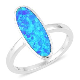 New Concept- Simulated Ocean Blue Opal Ring in Rhodium Plated Sterling Silver