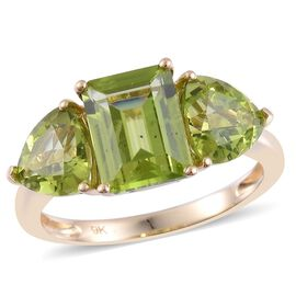9K Y Gold AAA Hebei Peridot (Oct 2.25 Ct) Ring 5.000 Ct.