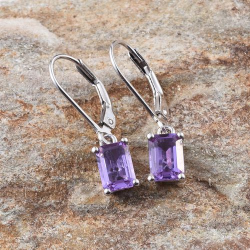 Lavender Alexite (Oct) Lever Back Earrings in Platinum Overlay Sterling Silver