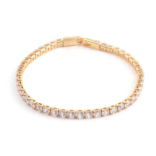 Simulated Diamond (Rnd) Tennis Bracelet (Size 7.5) in Yellow Gold Bond