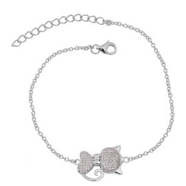 ELANZA AAA Simulated White Diamond (Rnd) Cat Charm Bracelet (Size 6.5 with 1 inch Extender) in Rhodium Plated Sterling Silver