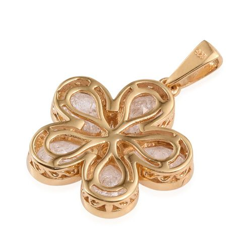 Diamond Crackled Quartz (Pear), White Topaz Floral Pendant in 14K Gold Overlay Sterling Silver 5.250 Ct.